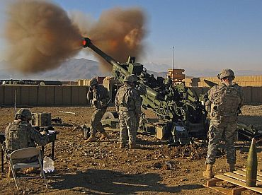 An ultra-light howitzer of the US army in action