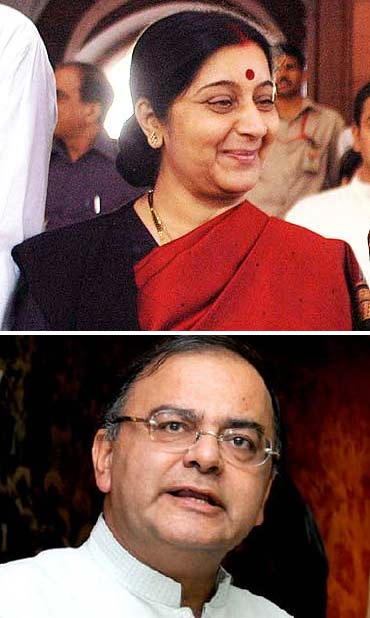 BJP leaders Sushma Swaraj and Arun Jaitley