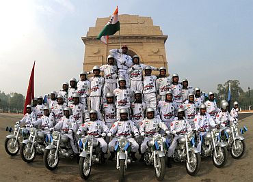 The daredevil stunts of motorcycle riders, during the full dress rehearsal for the Republic Day Parade-2011, in New Delhi on January 23, 2011