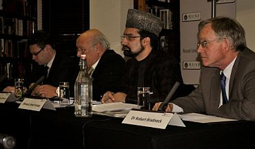 Head of the Asia Security Programme at RUSI Alexander Neill, Revd Professor Richard Bonney, Hurriyat conference leader Mirwaiz Umar Farooq and academic Dr Robert Bradnock at the conference