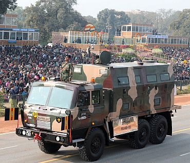 The Prahar 510 passes through Rajpath
