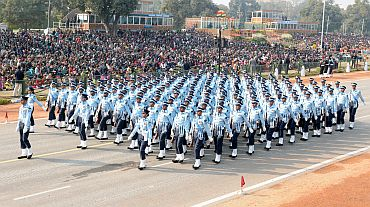 The Air Force marching contingent passes through Rajpath