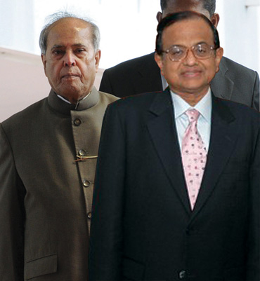Finance Minister Pranab Mukherjee with Home Minister P Chidambaram