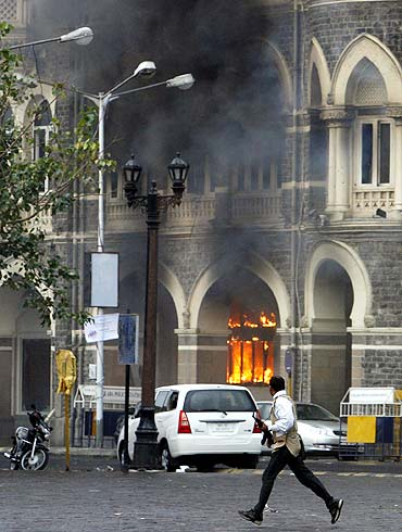 A grim image of Mumbai's Taj Mahal Hotel during the 26/11 attacks
