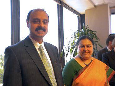 Ashok Kumar Sinha, Consul (Community Affairs) with Susmita Gongulee Thomas, Consul General of India in San Francisco