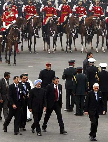Prime Minister Manmohan Singh arrives at the ceremony