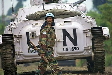 A member of the Indian battalion of the United Nations Organization Mission in the Democratic of the Congo