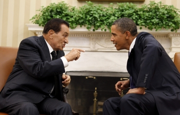 A file photo of US President Barack Obama with Egypt's President Hosni Mubarak