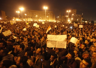 Protesters take part in a demonstration at Tahrir Square in Cairo