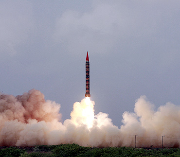The Shaheen-II missile takes off during a test flight from an undisclosed location in Pakistan
