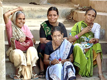 Women on the banks of the Ganga in Varanasi
