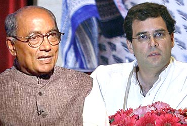 Congress leader Digvijay Singh and Rahul Gandhi