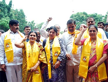 MLAs in Andhra Pradesh press for their demand for a separate Telangana state after tendering their resignations
