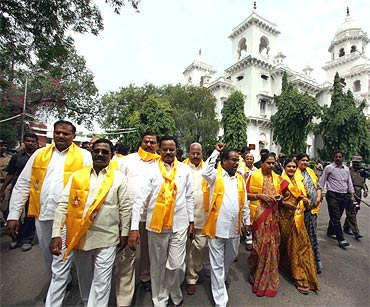 AP MLAs on Monday quit their seats demanding a separate Telangana state