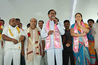 TRS Preisdent K Chandersheker Rao with suspended TDP MLA Janardhan Reddy and TRS MP and film actress