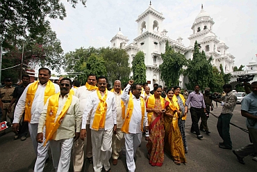 TDP MLAs protest in Hyderabad on Monday