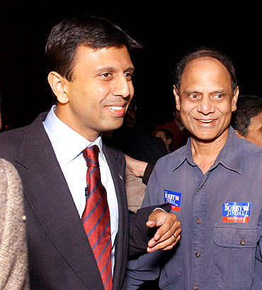 Louisiana Governor Bobby Jindal with his father