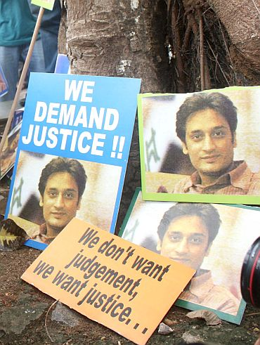 Posters demanding justice for Neeraj Grover