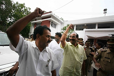 Telangana leaders raise slogans after resigning on Monday