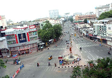 Most the the arterial roads in Hyderbad were deserted