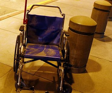 A wheelchair is left to gather dust in the aftermath of the 'historic' storm