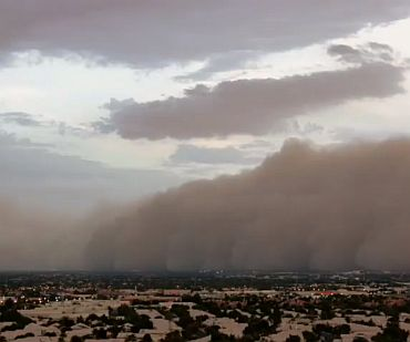 A video grab of the dust storm
