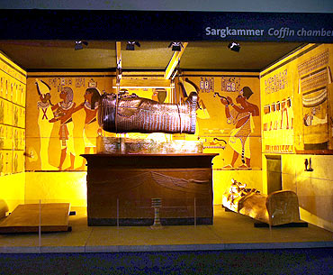 A model of Pharaoh Tutankhamen's coffin chamber is seen in the German premiere of the exhibition 'Tutankhamen-his grave and his treasures' in Munich's Olympic park.
