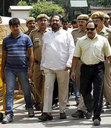 Suresh Kalmadi, the Congress MP from Pune, after his arrest.