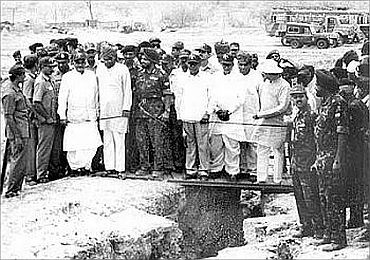 A file photograph of then Prime Minister Atal Bihari Vajpayee and Defence Minister George Fernandes at the site of the nuclear test in Pokhran on May 20, 1998