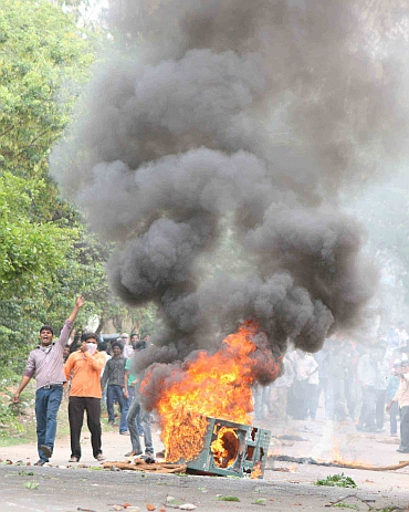 Students stage protests at the Osmania University in Hyderabad