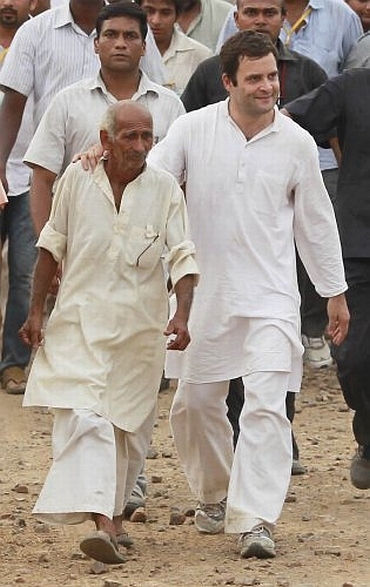 Rahul Gandhi during is padyatra in UP