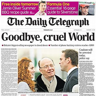 A headline carried by The Daily Telegraph about News of the World's demise