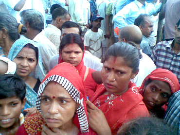 Women from Bhaderi village who were promised an audience with Rahul by Congress workers