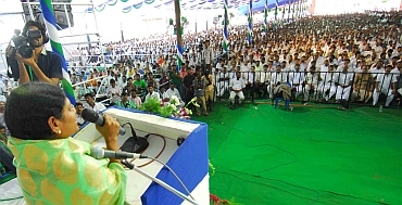 Jagan's mother and MLA Y S Vijayalakshmi speaks at the meet