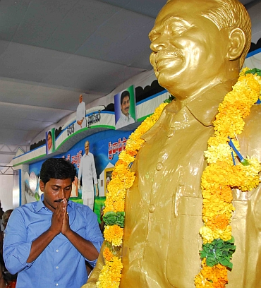 Jagan Reddy pays tribute to his father Y S Rajasekhara Reddy at the YSR Congress plenary