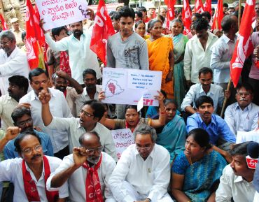 CPI workers raise slogans in support of a separate state of Telangana at the Hyderabad collectorate.