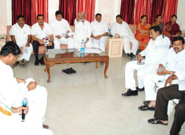 Telangana Congress MPs and MLAs meet after tendering their resignations.
