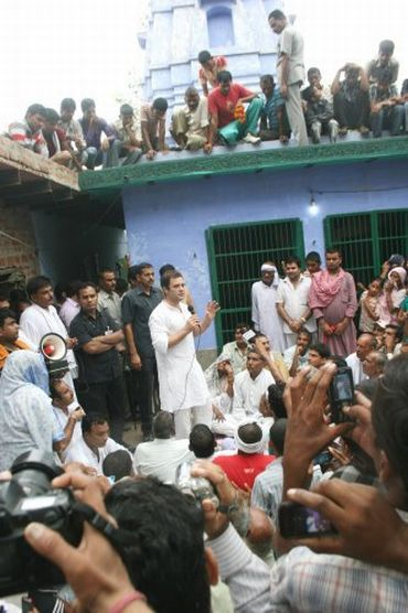 Congress General Secretary Rahul Gandhi speaks to villagers during his padyatra in Uttar Pradesh