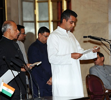 New minister of State Milind Deora, at the swearing-in ceremony