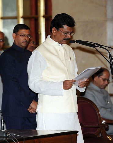 Member of Parliament from Chhattisgarh Charan Das Mahant at the swearing-in ceremony