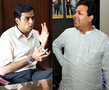 Milind Deora, left, and Rajiv Shukla