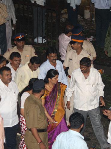 Mayor Shraddha Jadhav inspects the blast area