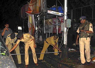 The blast site at Dadar, Mumbai
