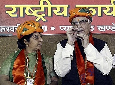 Leader of the Opposition in Lok Sabha Sushma Swaraj with LK Advani