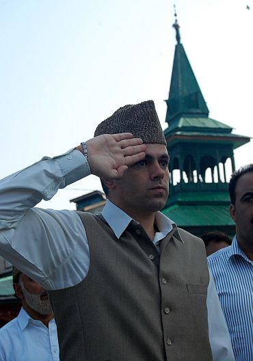 CM Omar Abdullah in the martyr's graveyard in Srinagar