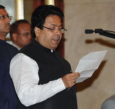 Newly appointed Minister of State for Parliamentary Affairs Rajiv Shukla at the swearing-in ceremony in Rashtrapati Bhavan on Tuesday