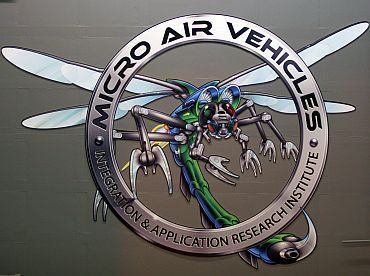 The logo on the wall at the US Air Force Micro Air Vehicles lab at Wrigh