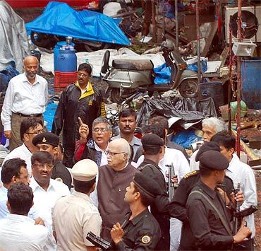 BJP leader L K Adavi at the blast site