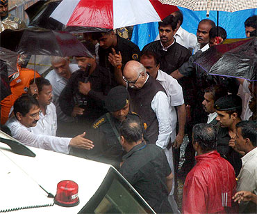 BJP leader L K Advani at a blast site
