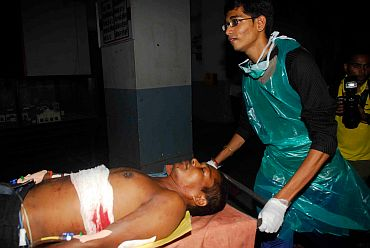 A blast victim at the JJ Hospital in Mumbai on Wednesday evening